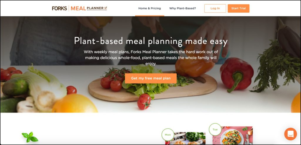Forks Meal Planner homepage
